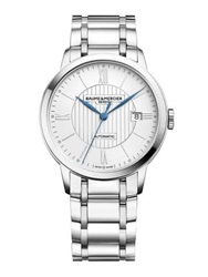 Baume And Mercier Classima Stainless Steel Automatic Bracelet Watch Silver Blue