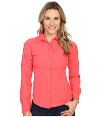 Columbia Silver Ridge L S Shirt Bright Geranium Women's Long Sleeve Button Up Red
