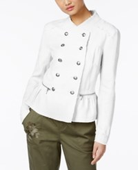 Inc International Concepts Linen Peplum Military Jacket Only At Macy's Bright White