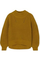 J.Crew Pointelle Trimmed Ribbed Cotton Sweater Yellow