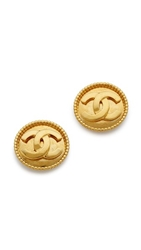 Wgaca Vintage Chanel Dot Border Earrings Gold