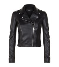 Versus By Versace Cropped Leather Panelled Biker Jacket Female Black