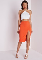 Missguided Thigh High Split Scuba Midi Skirt Orange Pink