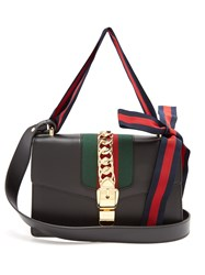 Gucci Sylvie Leather Shoulder Bag Black