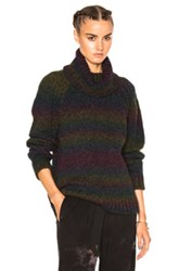 Raquel Allegra Turtleneck Pullover In Purple Gray Stripes Purple Gray Stripes