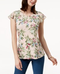 Charter Club Ruffled Sleeve Top Created For Macy's Misty Pink Combo