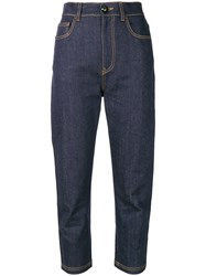 Fendi Straight Cropped Jeans Blue