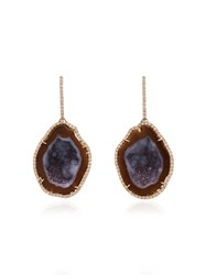Kimberly Mcdonald Red Gold Drop Earrings With Red And Purple Geode And Rose Gold