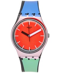 Swatch Unisex Swiss Sport Mixer Multi Color Silicone Strap Watch 34Mm Gb286
