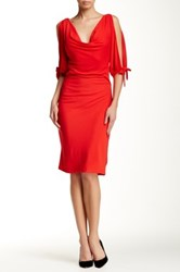 Eva Franco Cold Shoulder Cowl Neck Dress Red