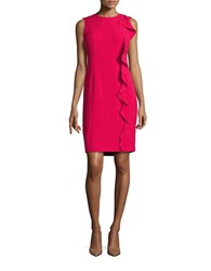 Karl Lagerfeld Ruffled Crepe Sheath Dress Fuchsia