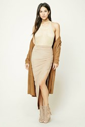 Forever 21 Ruched Faux Suede Maxi Skirt