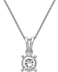 Trumiracle Diamond Bezel Pendant Necklace In 14K White Gold 1 4 Ct. T.W.