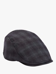 Ted Baker Grange Check Flat Cap Dark Blue