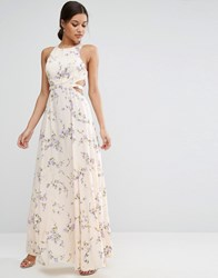 Asos Cutout Waist Floral Maxi Dress Multi