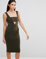 Forever Unique Toya Midi Dress With Cut Out Khaki Green