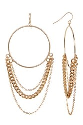 14Th And Union Draped Chain Front Hoop Earrings Metallic