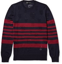 Alexander Mcqueen Laddered Triped Wool Weater Navy