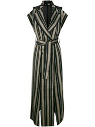 Lost And Found Ria Dunn Striped High Slit Double Breasted Coat With Black