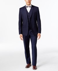 Andrew Marc New York Marc New York By Andrew Marc Slim Fit Blue Tonal Plaid Vested Suit Navy