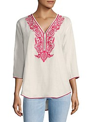 Saks Fifth Avenue Oversized Embroidered Linen Top Blanc White