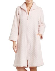 Oscar De La Renta Plush Short Zip Robe Pink