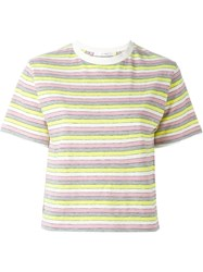 Julien David Striped Cropped T Shirt Yellow And Orange