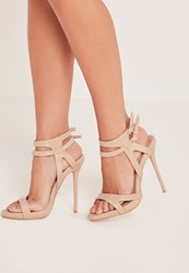 Missguided Double Strap Barely There Heeled Sandals Nude