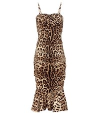 Dolce And Gabbana Printed Stretch Silk Dress Brown