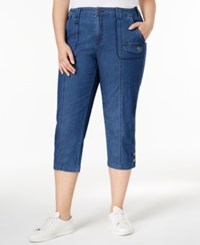 Style And Co Plus Size Capri Cargo Pants Only At Macy's Medium Chambray