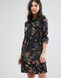 Lavand Printed Shift Dress With Tie Neck Black