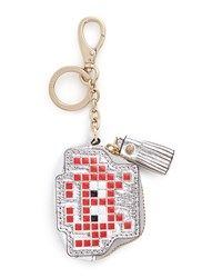 Anya Hindmarch 'Space Invaders' Embossed Metallic Leather Coin Pouch Red