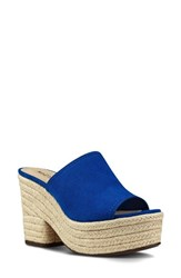 Nine West Women's Skyrocket Platform Slide Sandal Blue Fabric