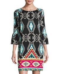 Julie Brown Elle Trumpet Sleeve Ikat Print Dress Black Pattern