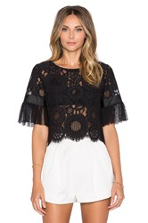 Alexis Alonso Pleated Sleeve Crop Top Black