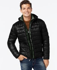 Tommy Hilfiger Men's Big And Tall Layered Packable Puffer Coat Black Green