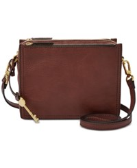 Fossil Campbell Mini Leather Crossbody Henna Gold