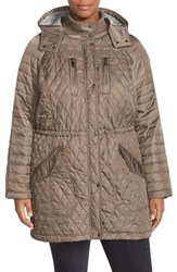 Plus Size Women's Vince Camuto Detachable Hood Quilted Anorak