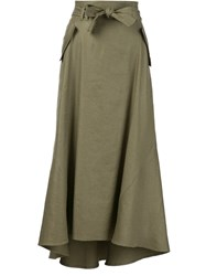 A.L.C. Flap Pocket Midi Skirt Green