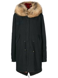 Mr And Mrs Italy Fur Lined Parka Men Cotton Rabbit Fur Polyamide Racoon Fur S Black