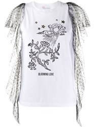 Red Valentino Point D'esprit Tulle Detailed T Shirt 60