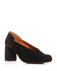 Chie Mihara Ante Amazon Suede And Embossed Leather Block Heel Pumps Black
