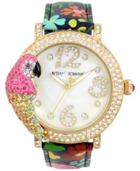 Betsey Johnson Women's Parrot Gold Tone Floral Leather Strap Watch 44Mm Shiny Gold