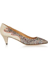 Isabel Marant Etoile Gumy Glitter Finished Leather Pumps Metallic