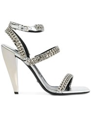Tom Ford Sandals With Chain Straps Leather Metal Metallic