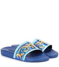 Dolce And Gabbana Printed Patent Leather Slides Blue