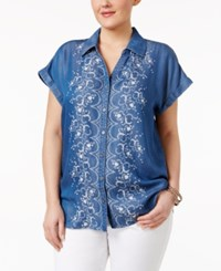 Style And Co Plus Size Denim Embroidered Shirt Only At Macy's Floral Parade