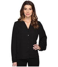 Nydj Pleated Sleeve Blouse Black Women's Blouse