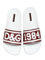 Dolce And Gabbana Dandg Rubberized Leather Slide Sandals White Red