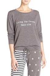 Women's Make Model 'Americana' Crewneck Pullover Grey Magnet Sentiment